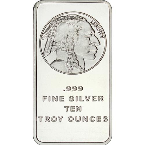 999 Fine Buffalo Design 5 oz SilverTowne Silver Bar