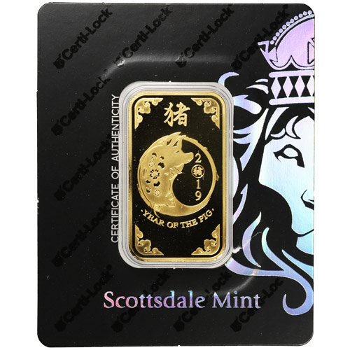 Buy 1 Oz Gold Scottsdale Year Of The Pig Bars New W