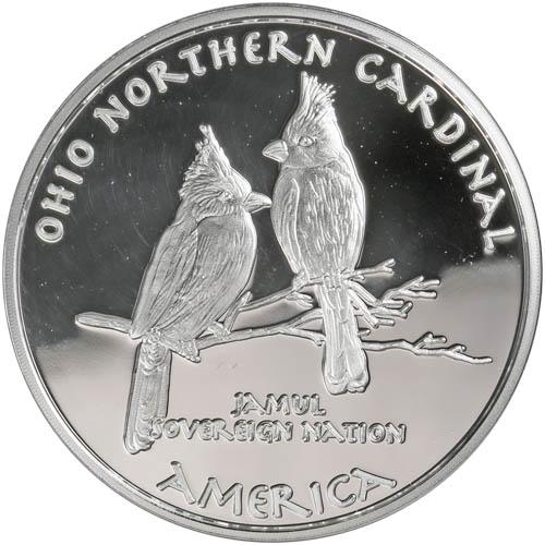 2019 1 Oz Proof Silver Ohio Wyandot Northern Cardinal