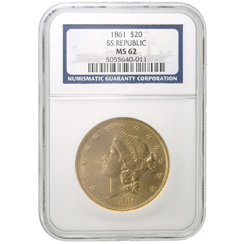 1861 Pre-33 $20 Liberty Gold Double Eagles SS Republic NGC MS62