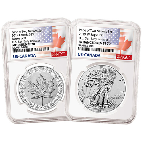 2019 W $1 /& $5 SILVER REVERSE PROOF NGC PF70 ER PRIDE OF TWO NATIONS 2 COIN SET