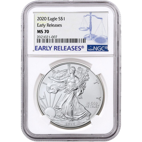2018 1oz Silver American Eagle NGC MS70 Early Releases Flag Label In Stock