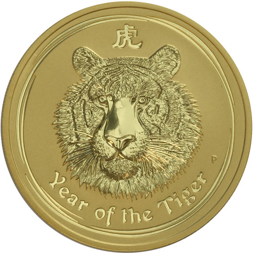 Perth Mint in Australia 2010 Lunar Tiger 1//20 oz $5 Gold Coin Series II